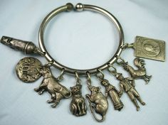 Rural European Country Side Farm Bangle Style Antique Silver Charm Bracelet | eBay