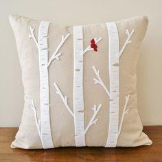 Birch Tree w/ Cardinal - Linen Cushion Cover