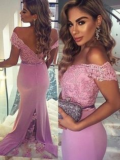 Sexy Lilac Prom Dress,Mermaid Style Prom Dress,Lace Appliques Prom Dress,Off the Shoulder Evening Dress,Chiffon Prom Dress,Backless Evening Dress