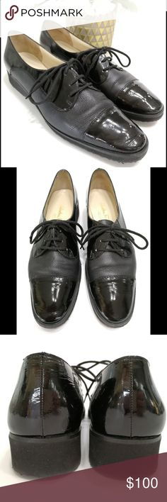 Salvatore Ferragamo Black Leather Lace Up Oxfords Salvatore Ferragamo Black Patent Leather Lace Up Oxfords.  Size 7 (2A=Narrow)  Style DP 51936 G21  In gently used condition. Slight wrinkling of black patent leather on toes. Soles are in GREAT shape. Minimal signs of marking on shoes. Salvatore Ferragamo Shoes Flats & Loafers