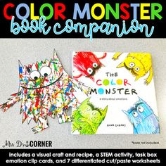 Color Monster Book Companion, Visual Craft and Recipe, and STEM Activity - Modern Design Monster Activities, Monster Crafts, Preschool Activities, Toddler Book Activities, Emotions Activities, Writing Activities, Preschool Colors, Preschool Crafts, Colors