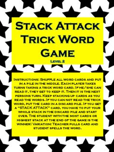 Stack Attack Trick Word Game-Phonics Level 2 from ReadingGroup on TeachersNotebook.com -  (14 pages)  - Super Fun game to learn how to read and/or spell trick words! Goes along with Fundations® level 2! Great way to spice things up!