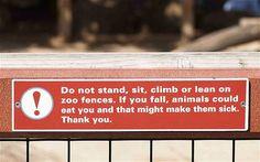 Irish humor!  Dublin zoo sign.