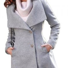 Wool jackets women Hee Grand Women's Worsted Slim Fit Belted Wind Coat Trench Coat Gray S Get Rabate Trench Jacket, Long Trench Coat, Autumn Winter Fashion, Winter Style, Work Wear, Windbreaker, Clothes For Women, Blazer, My Style