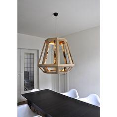 Zuid Oak Wood Lamp - Medium ($535) ❤ liked on Polyvore featuring home, lighting, craftwork, scandinavian design lamps, scandinavian design, retro, product design, interior design, geometric lighting collection and geometric design collection