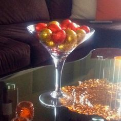 Easter chocolate eggs in a oversized martini glass for decoration (and eating!)