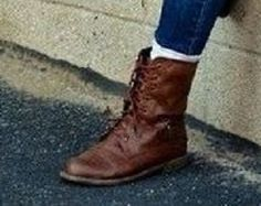 brown leather ankle boots, lace up front, low heel