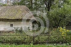 Old wooden cottage Garden with flowers in open-air museum in Nowy Sącz . Poland
