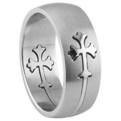 316L Steel Cross Ring - Combination of matte and shiny polish (Jewelry)  http://www.1-in-30.com/crt.php?p=B0039BQUPQ  B0039BQUPQ