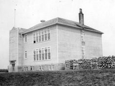Erickson School, Erickson, Manitoba with large piles of wood stockpiled for winter months Winter Months, Historical Sites, Elementary Schools, Old Things, United States, Canada, History, Wood, Classic