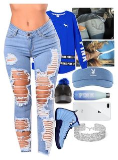 """Ripped and blue"" by lannaslayallday ❤ liked on Polyvore featuring Victoria's Secret, DANNIJO and Victoria's Secret PINK"
