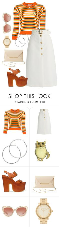 """Orange Stripes"" by bubble-tea-dan ❤ liked on Polyvore featuring Courrèges, Bella Freud, Melissa Odabash, STELLA McCARTNEY, Charlotte Russe, Dolce&Gabbana and Michael Kors"