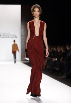 "From The ""Project Runway"" Finale Show - Oxblood, studded, square neck gown (gorg!)"