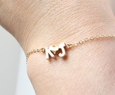 His And Her Initial With A Heart Bracelet, Gold Filled Chain, Wedding, Fast Shipping on Etsy, $32.00