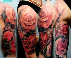 Shoulder Realistic Flower Tattoo by Matt Jordan Tattoo Exactly how I want my shoulder tattoo to look like. Bird And Flower Tattoo, Tribal Flower Tattoos, Realistic Flower Tattoo, Tattoos Geometric, Realistic Rose, Flower Tattoo Designs, Tattoo Flowers, Orchid Tattoo, Floral Tattoos