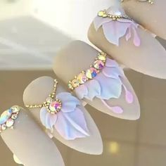 Beautiful tips by ✨Ugly Duckling Nails page is dedicated to promoting quality, inspirational nails created by… 3d Acrylic Nails, Acryl Nails, 3d Nails, Cute Nails, Pastel Nails, Bride Nails, Wedding Nails, 3d Nail Designs, Nailart