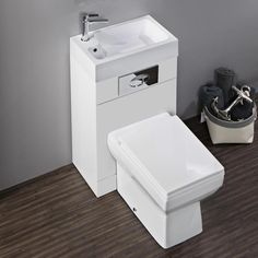 Perfect if space is short, the Kyoto Combined Two In One Wash Basin & Toilet features sharp, contemporary styling. Get it at Victorian Plumbing now.