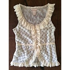 "NWOT Pretty Anthropologie Hype Lace Ruffles Top New and never worn without tag lace with Ruffles details top by Hype from Anthropologie in size small. No flaws. Has buttons and an adjustable waist. Hidden zipper on the side. Measure about 21"" length and 16"" bust. ❌Sorry no trades or modeling. Open to reasonable offers. Thank you‼️ Anthropologie Tops Blouses"