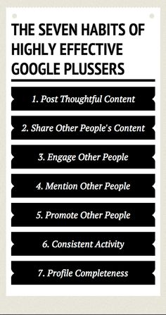 Denise Wakeman - Google+ - The Seven Habits of Highly Effective Google Plussers From… #pinoftheday