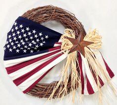 Flag Wreath, Patriotic Wreath, Americana Wreath, 4th Of July, Memorial Day, Summer Wreath, Grapevine Wreath, Spring Wreath, Home Decor, Flag by CrookedTreeCreation on Etsy https://www.etsy.com/listing/384905968/flag-wreath-patriotic-wreath-americana