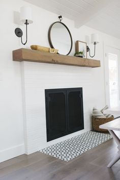 30 Stunning White Brick Fireplace Ideas (Part – farmhouse fireplace tile Farmhouse Fireplace Mantels, Fireplace Doors, Simple Fireplace, Brick Fireplace Makeover, Wood Mantels, Fireplace Hearth, Fireplace Remodel, Fireplace Surrounds, Fireplace Design