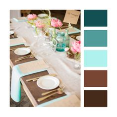 Colour Palettes - Teal, turquoise & brown (these will actually be my bathroom colors lol. pretty bad when I have to turn to pinterest to know what colors match teal ...)