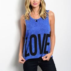Love Hate Tank Cute Purple Blue Marbled Tank. Love written on front and Hate written on back. Semi Crop Boxy Fit. 100% Cotton. Perfect for lounging around in or wearing to the gym!   Sizes Available: S/M or M/L  *Let me know which size you'd like, and I will create you a listing* Thank you, Xo Tops Tank Tops