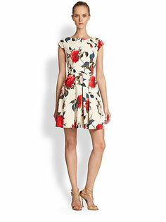 ABS - Floral-Print Fit-And-Flare Dress - Saks.com
