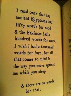 I read once that the ancient Egyptians had fity words for sand and the Eskimos a hundered words for snow, I wish I had a thousand words for love