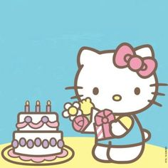 Happy bday uploaded by ㅆ △̶રί ㅠՀ△⃒⃘ ॐ on We Heart It First Birthday Theme Girl, Happy Birthday Niece, Cute Birthday Wishes, Hello Kitty Birthday, Cat Birthday, Birthday Cards, Hello Kitty Vans, Hello Kitty My Melody, Sanrio Hello Kitty