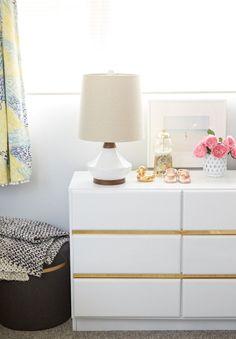 How To Incorporate Ikea Malm Dresser Into Your Decor Ikea Malm Dresser, Gold Dresser, Dresser As Nightstand, Nursery Office, Bedroom Hacks, Best Ikea, Ikea Storage, Ikea Furniture, Style Vintage