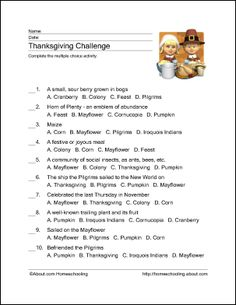 Thanksgiving Printables: Thanksgiving Challenge