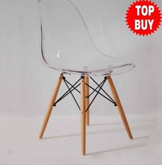My Furniture - EAMES STYLE DSW EIFFEL DINING OFFICE CHAIR TRANSPARENT WOOD LEG SINGLE - AVAILABLEBEDS