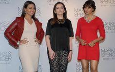 Nita Ambani, poses with Bollywood actors Sonakshi Sinha and Bipasha Basu during the opening of Marks & Spencer`s biggest store in India, Mum...