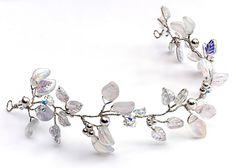 White Floral Bridal Hair Vine, Leaves Pearls and Clear Crystals Head Piece, Silver Hair Crown, Wedding Hair Vine, Leaf Hair Vine, HV134