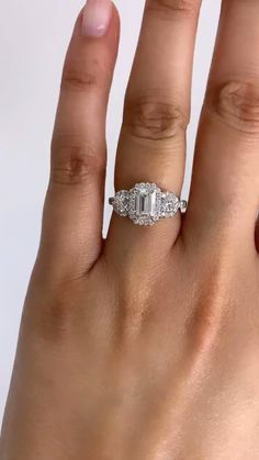 Wedding Ring Emerald Cut, Emerald Engagement Rings, Disney Engagement Rings, Heart Shaped Engagement Rings, Diamond Wedding Sets, Three Stone Engagement Rings, Engagement Ideas, Engagement Ring Cuts, Designer Engagement Rings
