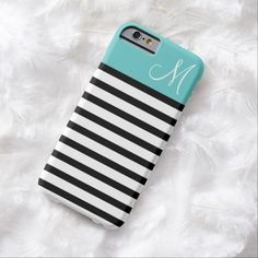 Awesome iPhone 6 Case! Black and Turquoise Preppy Stripes Custom Monogram iPhone 6 Case. It's a completely customizable gift for you or your friends.