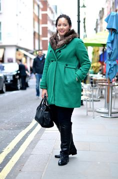 Girl with Curves: Layered in London | The green coat is great. It's bright & cheerful, but not fluorescent.