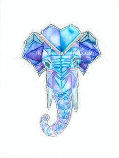 Geometric Watercolor Elephant by HeidiMillerLowell on Etsy