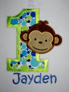 OMG...this may be it! Custom Boutique Mod Monkey Birthday Applique t-shirt for boys 1st, 2nd, 3rd ... - machine embroidered - personalized. $20.00, via Etsy.
