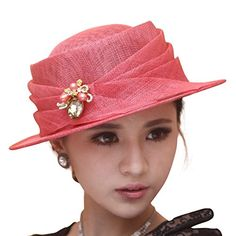 3d60cae5c67 June s young Jazz Hat Small Brim Outdoor Sun Hat 3 Layers Sinamay Hat  Wedding Church (Brown hat)  Amazon.co.uk  Clothing