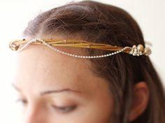 elf fairy bridal wreath medieval hair crown with rhinestones and ribbons.