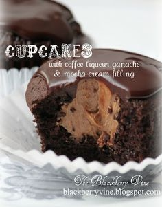 Cupcakes with Coffee Liqueur Ganache & Mocha Cream Filling