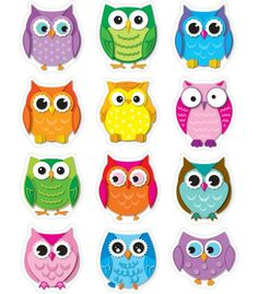 Carson Dellosa Education Colorful Owls Shape Stickers - These Owl Die-cut Are Acid Free And Lignin Free. Includes 72 In 12 Assorted Colors Shapes. Owl Crafts, Paper Crafts, Owl Theme Classroom, Classroom Teacher, Kindergarten Classroom, Classroom Ideas, Owl Templates, Applique Templates, Applique Patterns