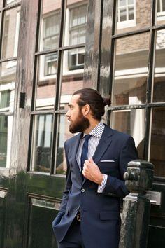 Christian Goran, Swedish model (and the guy from the Trivago ads) Gents Fashion, Mens Fashion Suits, Mens Suits, Christian Göran, Formal Suits, Beard Tattoo, Man Bun, Hair And Beard Styles, Stylish Men