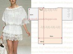 PASSO A PASSO MOLDE DE VESTIDO Corte dois retângulos de tecido com a altura e largura que pretende para o vestido. Dobre a meio os retângulos. Desenhe uma