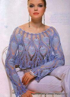 Crochet Sweater: Crochet Bolero Pattern - Gorgeous Lace Bolero - Original - Diagrams at site Crochet Jacket, Crochet Poncho, Crochet Cardigan, Crochet Sweaters, Crochet Tops, Irish Crochet, Crochet Shrugs, Crocheted Lace, Free Crochet