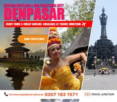 #Denpasar is a bustling and multicultural land, tourists will certainly get rejuvenating experience visiting there. So, hurry to book tickets now at #cheapairfare from Travel Junction. Call at:0207 183 1571