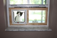 Cat Door For Window, Cat Window Perch, Cat Perch, Diy Cat Enclosure, Outdoor Cat Enclosure, Outdoor Cats, Outdoor Spaces, Cat Condo, Diy Door