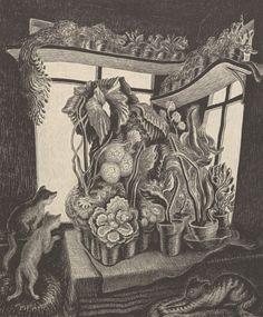 "pintoras: ""Wanda Gág (American, 1893 - 1946): Winter garden (1935) (via Aspire Auctions) """